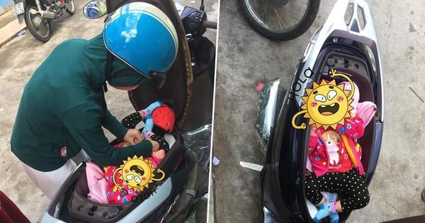 """Hình ảnh """"chị gái đặt con nhỏ vào cốp xe máy để thay tã bên lề đường"""" khiến dân mạng thi nhau đồn đoán đủ điều"""