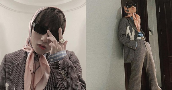 Style của Sơn Tùng đã lên cảnh giới mới: mặc suit, đeo kính bịt khăn như bà cụ già