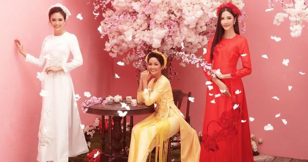 Ngắm H'Hen Niê và 2 nàng Á hậu rực rỡ trong tà Áo dài mới thấy: Tết chỉ còn cách mình...