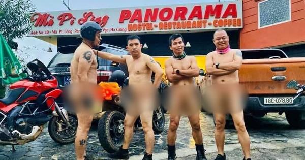 Xôn xao hình ảnh 4 người đàn ông khỏa thân đi xe máy lên đèo Mã Pì Lèng, chụp ảnh check in phản cảm trước cửa KS Panorama