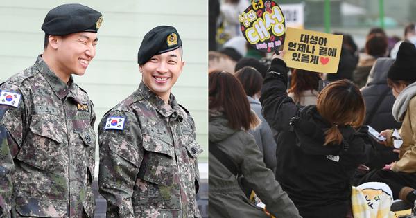 Taeyang và Daesung (BIGBANG) chính thức xuất ngũ: Béo lên trông thấy, vui mừng trước 1000 fan vây kín cả khu vực