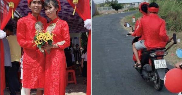 """Hình ảnh chú rể bó bột chân, được cô dâu """"rước"""" bằng xe máy khiến nhiều người vừa thương lại không nhịn được cười"""