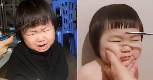 Gương mặt mếu máo, phụng phịu của bé gái khi được mẹ cắt tóc khiến dân mạng tan chảy vì quá đáng yêu