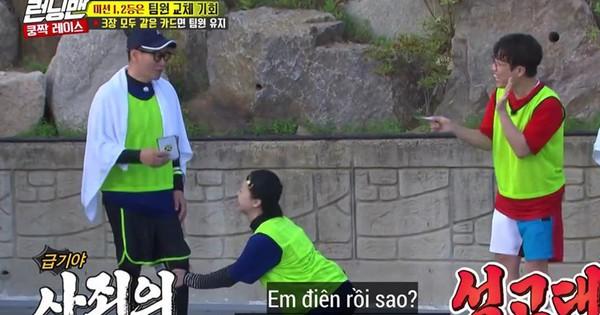 Running Man: Jeon So Min ''chơi dơ'' nhưng lại giả nai vì không muốn Ji Suk Jin chung đội