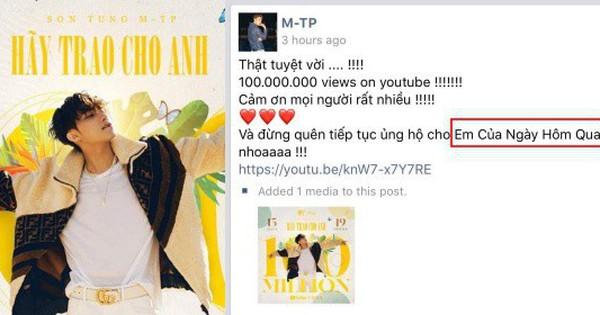 MV ''Hãy Trao Cho Anh'' đạt mốc 100 triệu views, Sơn Tùng M-TP vui quá viết caption chúc mừng... ''Em Của Ngày Hôm Qua''