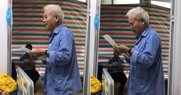 Clip: Cụ ông ung thư 74 tuổi đáng ngưỡng mộ với tinh thần lạc quan, trước khi phẫu thuật vẫn làm thơ động viên bạn cùng phòng bệnh