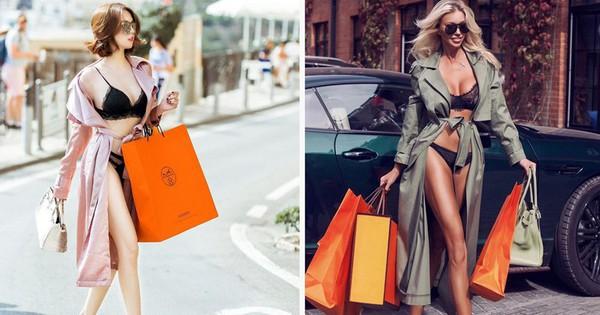 Ảnh diện nội y ỡm ờ của Ngọc Trinh bị nghi ''cosplay'' người mẫu Nga: giống từ cách lên đồ, dáng pose cho đến cả túi shopping
