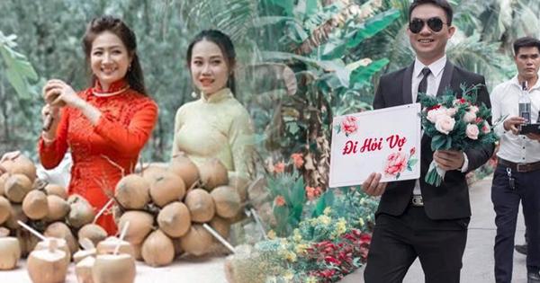"""Cực dễ thương đám cưới ở Bến Tre phải uống 100 trái dừa mới lấy được vợ, dân tình ngặt nghẽo """"anh nào can đảm lấy vợ Tây Ninh, Phan Thiết?"""""""