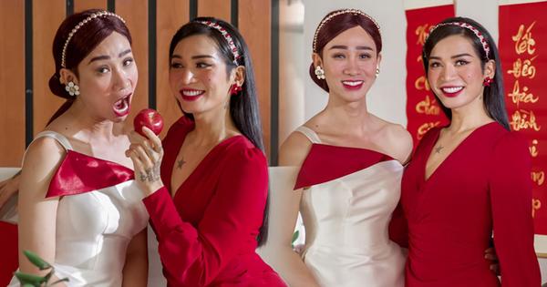 ''Chị em Sò Lụa'' BB Trần và Hải Triều gây sốt với bộ ảnh giả gái đón Tết: Vừa duyên dáng vừa nuột kém chị em nào đâu!