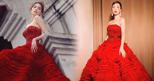 """Diện váy đỏ bồng xoè: Hoà Minzy """"quẩy"""" khuyên tai sang chảnh, Ngọc Trinh đơn giản bất ngờ"""