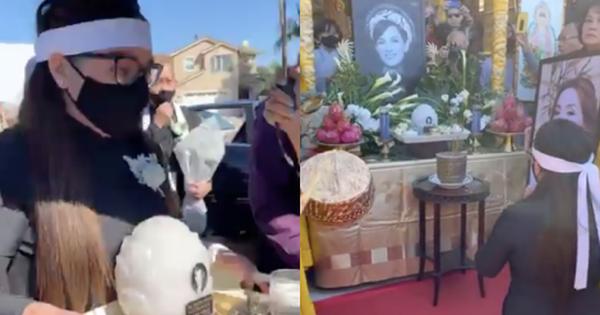 Cập nhật tang lễ cố ca sĩ Phi Nhung ở Mỹ: Con gái mặc áo dài ôm chặt tro cốt của mẹ, Mạnh Quỳnh đau đớn nói lời vĩnh biệt!