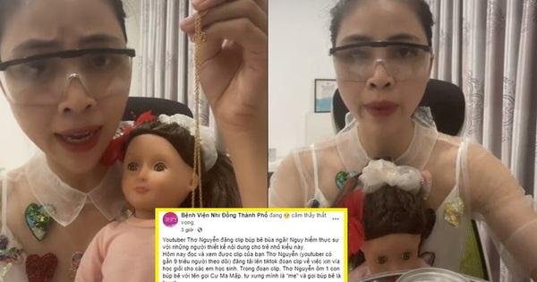 Fanpage Bệnh viện Nhi đồng Thành phố chia sẻ bài viết chỉ trích Thơ Nguyễn ôm búp bê xin vía học giỏi cho trẻ nhỏ