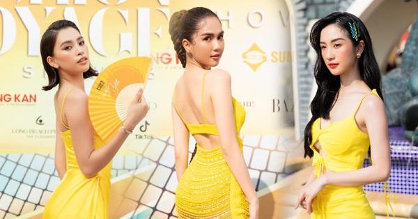 Ngọc Trinh lộ vòng 3 căng đét, dàn Hoa hậu Á hậu cũng thi nhau khoe ngực 'ỡm ờ' trên thảm đỏ Fashion Voyage