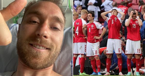 Eriksen đăng tải hình ảnh đầu tiên trên giường bệnh sau thời khắc gục ngã đầy kinh hoàng tại sân cỏ Euro