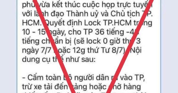 Bác bỏ tin đồn 'lock toàn TP.HCM trong 10 đến 15 ngày'