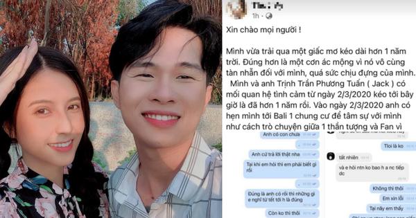 BIẾN CĂNG: 1 cô gái tố Jack bắt cá 3 tay, có con với nữ chính MV Sóng Gió, tung cả ảnh nghi nam ca sĩ trên giường và loạt tin nhắn?