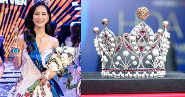 Cận cảnh vương miện Hoa khôi Sinh viên Việt Nam vừa được trao: Vàng hồng 10k và ngọc trai quý giá