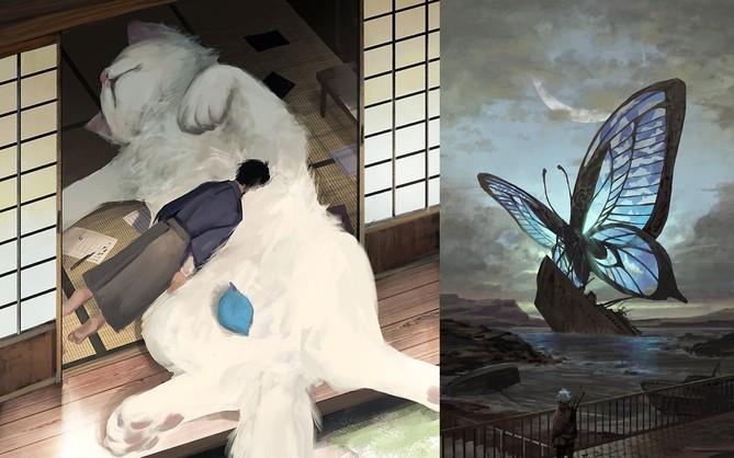 Họa sĩ Nhật Bản vẽ ra một thế giới nơi con người vui sống giữa những con thú khổng lồ