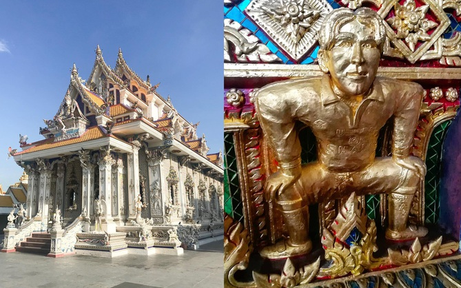 Ngôi chùa Thái Lan có tượng David Beckham và Pikachu đặt dưới bệ thờ
