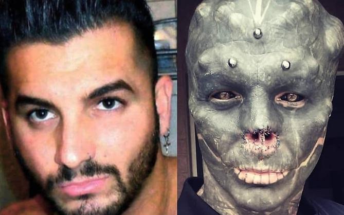 Anh chàng nổi tiếng vì đang đẹp trai thì lại đi cắt mũi, xẻ lưỡi cho giống người ngoài hành tinh