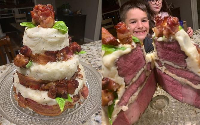 Bố làm bánh sinh nhật 100% thịt tươi cho con trai, dân mạng bảo ăn thế này thì đạm tiêu đâu cho hết?