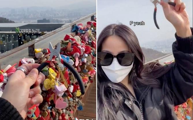 Chia tay bạn trai, gái xinh bay từ Mỹ về Hàn Quốc để phá khóa tình yêu cho đỡ... nặng vía