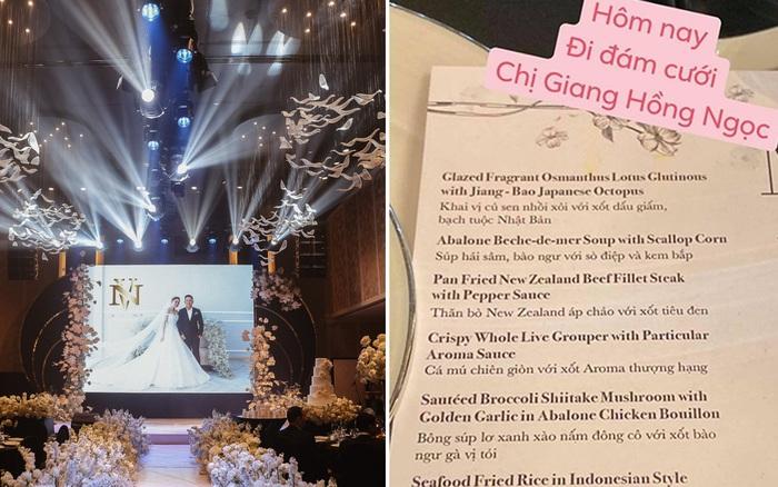 """Không chỉ Bảo Thy, đám cưới Giang Hồng Ngọc cũng gây ấn tượng với thực đơn """"năm ..."""