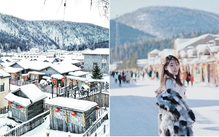 Ngôi làng tuyết trắng đẹp không thua phim kiếm hiệp ở Trung Quốc, nhìn ảnh trên ...