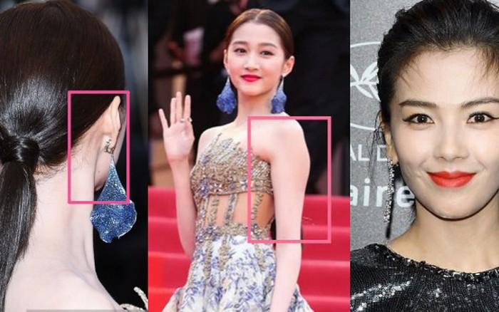 Bóc mẽ 2 mỹ nhân Cbiz tại Cannes: Quan Hiểu Đồng trát phấn loang lổ, lộ bắp tay to, Lưu ...