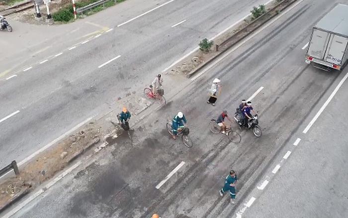 """Người dân liều mình đánh cược với """"tử thần"""" để sang đường ở QL5 sau vụ tai nạn 6 ..."""