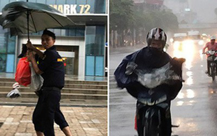 Hình ảnh bão số 3: Người dân Hà Nội oằn mình trong mưa lớn, gió lốc