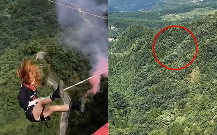 """Hết hồn trước cảnh cô gái nhảy xuống từ vách núi cao, mới xem thôi mà đã có người muốn """"rớt não"""""""