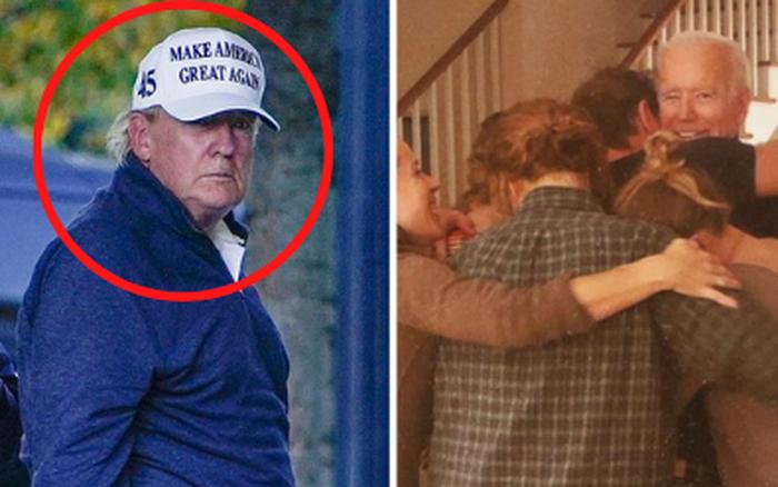 Hình ảnh ông Trump buồn bã quay về Nhà Trắng sau khi hay tin tái tranh cử thất bại trong khi đối thủ đang bận rộn ăn mừng chiến thắng