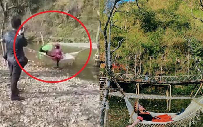 Mải mê chụp ảnh sống ảo trên chiếc võng bên bờ suối, cô gái bị ngã ...