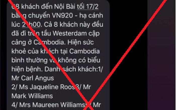 Sự thật thông tin 8 hành khách trên du thuyền MS Westerdam sang Việt Nam tối nay