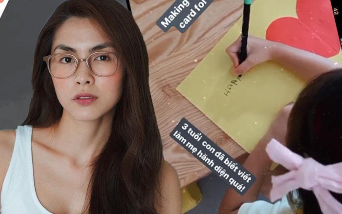 Công chúa nhỏ nhà Hà Tăng mới 3 tuổi đã biết viết chữ ...