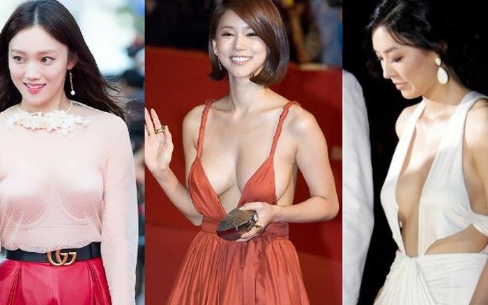 5 màn khoe thân phản cảm nhất lịch sử thảm đỏ Kbiz: Sao vô danh lộ vòng 1 như sắp nhảy ra ngoài, Lee Sung Kyung bất ngờ bị réo gọi