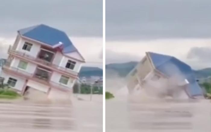 Cảnh tượng gây sốc: Ngôi nhà 3 tầng đổ sụp chỉ sau vài giây ...