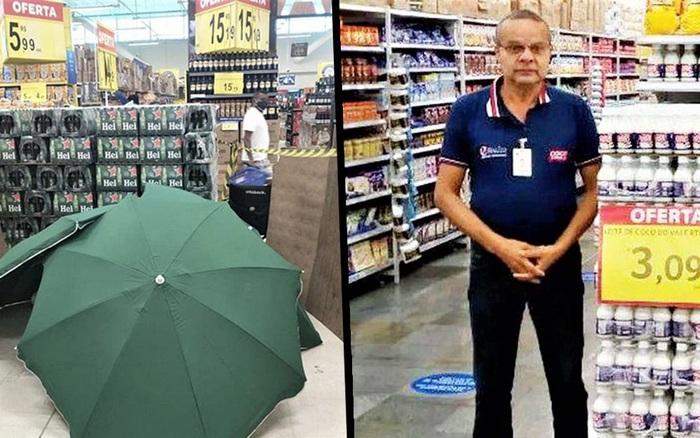 Nhân viên đột ngột qua đời, siêu thị lấy ô che xác rồi tiếp tục làm việc như thường