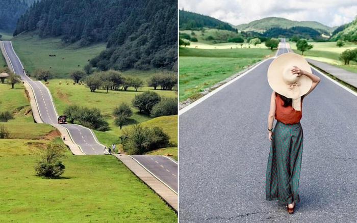 """Lác mắt trước """"con đường nhún nhảy"""" độc nhất thế giới ở Trung Quốc, nhìn từ xa chẳng khác nào dải lụa giữa thảo nguyên"""