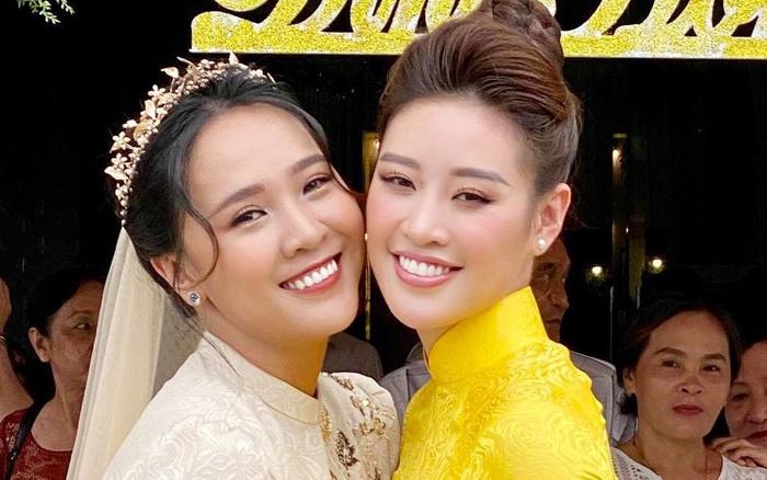 Khánh Vân làm dâu phụ trong đám cưới anh trai, dân tình dán mắt vào nhan sắc chị dâu từng thi Hoa hậu