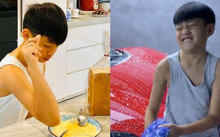 Quý tử Subeo ngày càng ra dáng anh cả: Hết vào bếp nấu ăn cho mẹ, nay lại xắn tay phụ bố Cường Đô La rửa siêu xe