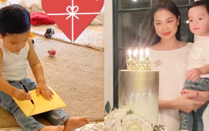 Phạm Hương khoe con trai hơn 1 tuổi đã biết viết thiệp tặng mẹ, nhìn thành quả mới... ngã ngửa nhưng quá đáng yêu