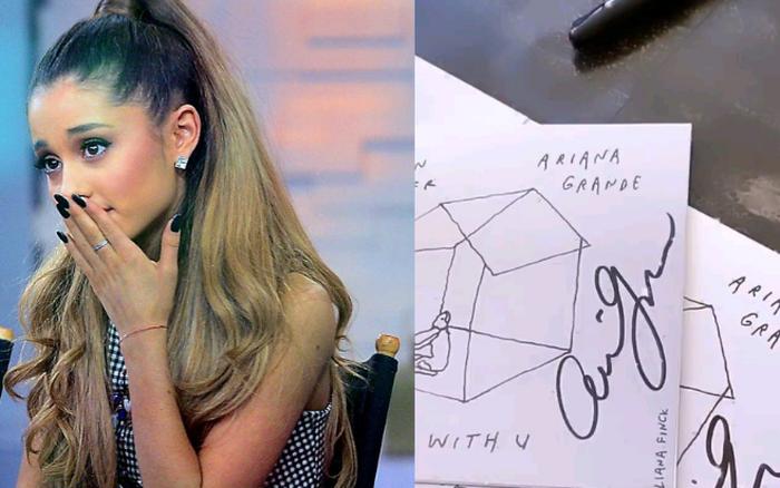 Fan phẫn nộ khi đợi chờ hơn 6 tháng CD Stuck With U mới đến tay, nhưng chữ ký của Ariana Grande và Justin Bieber đều là giả?