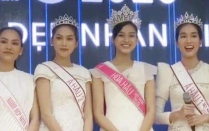 Clip hiếm hoi Hoa hậu Việt Nam và 2 Á hậu đọ sắc cùng khung hình qua camera thường: Dáng đi như catwalk và ngũ quan ngoài đời gây chú ý