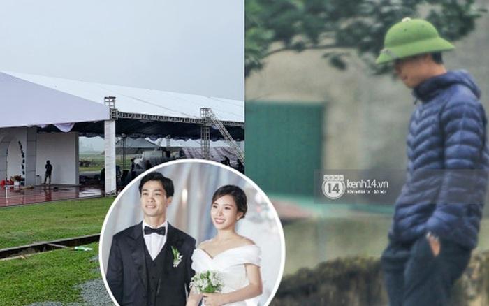 Hình ảnh đầu tiên tại địa điểm diễn ra đám cưới Công Phượng ở Nghệ An: Chú rể có mặt, rạp khủng trên sân bóng đang được hoàn tất