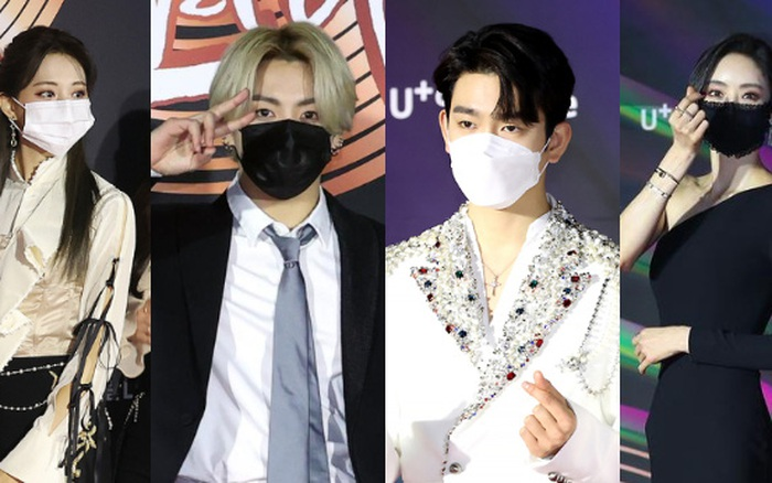"""Thảm đỏ Grammy Hàn 2021 ngày 2: GOT7 buồn thiu giữa tin tan rã, TWICE bị ác nữ lấn át, Jungkook tóc vàng choé bên """"em trai BTS"""" mặc váy"""