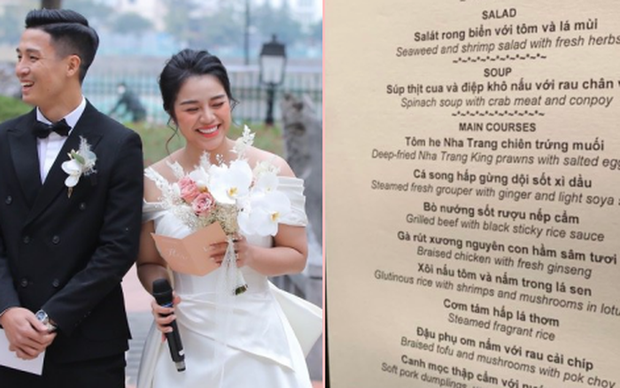 Lộ diện menu cưới của Bùi Tiến Dũng và Khánh Linh: Chơi sang với toàn món