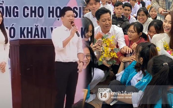 Nhã Phương diện áo dài trắng cùng Trường Giang về thăm trường cũ, hội nữ sinh thích thú vây kín không khác gì đón idol