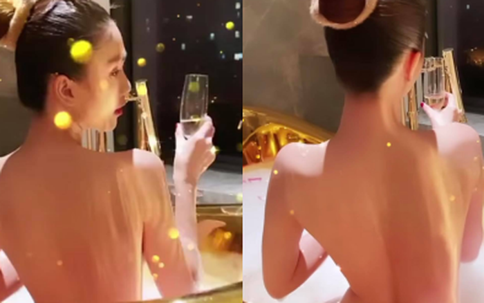 Ngọc Trinh tung ảnh bán nude, phô cả góc lưng trần sexy đến đỉnh điểm khi ngâm mình trong bồn tắm dát vàng